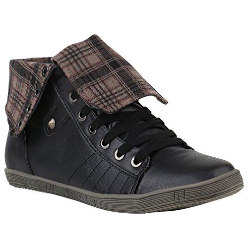 Stiefelparadies Damen Sneaker High Schuhe Leder-Optik Sneakers Zipper Ketten Schnürschuhe Flats Schnallen Flandell Schwarz Schwarz Karo