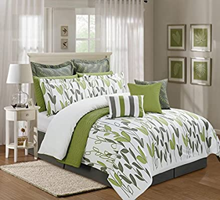 12 Pieces Luxury Sage Green, Grey and White Vine Allen Comforter  Set/Bed-in-a-Bag King Size Bedding
