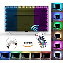 """Exgreem Bias Backlight for HDTV (78.7""""/2M) LED Strips Bias Lighting RGB Lights with RF Remote Control for HDTV, Flat Screen TV Accessories and Desktop PC, Multi Color (78 inches)"""