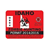 Red Idaho Zombie Hunting Permit Sticker Die Cut Decal Self Adhesive Vinyl FA Vinyl