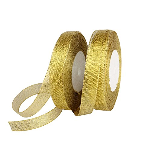 Feyarl Glitter Metallic Gold Ribbon 5/8-inch Wide Sparkly Fabric Ribbon for Gift Crafters Sewing Wedding Party Brithday Wrap Card Making Hair Bows Floral Projects (Gold)