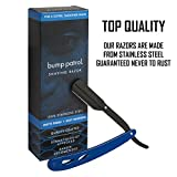 Bump Patrol Shaving Razor Stainless Steel Matte Finish Blue Pack of 2