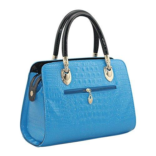 qckj Fashion Cruz Cuerpo Bolsa De Hombro Cocodrilo Mujeres PU Bolso Azul