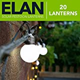 Elan Outdoor Garden Solar Powered Festoon String Lanterns - 20 LED