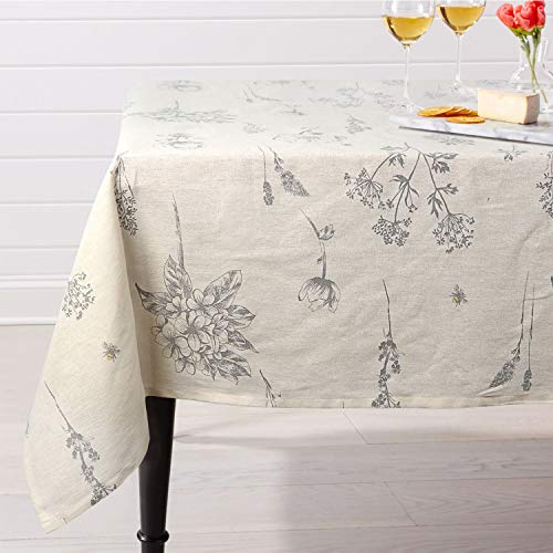 ColorBird Fern Print Cotton Linen Tablecloth Rustic Garden Natural Botanical Decorative Table Cover for Kitchen Dining Spring Summer Picnic Indoor Outdoor Use (Rectangle/Oblong, 55 x 120 Inch, Linen)