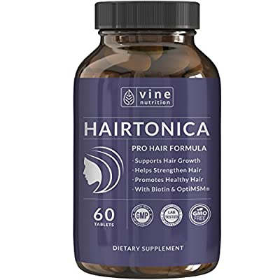 Natural Hair Skin & Nails Vitamins - Supports Hair Growth - Formulated With Biotin, Keratin, OptiMSM®, Grape Seed Extract, Collagen & More! - For All Hair Types -Non GMO - Vine Nutrition