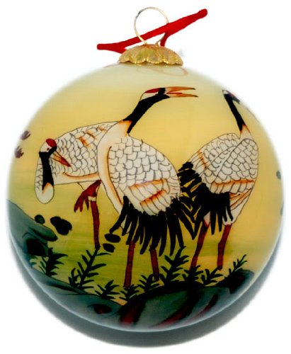 World Treasure Hand Painted Glass Ornament, Pale Yellow with Cranes CO-188 (Painted Hand Ornaments Ball Glass)
