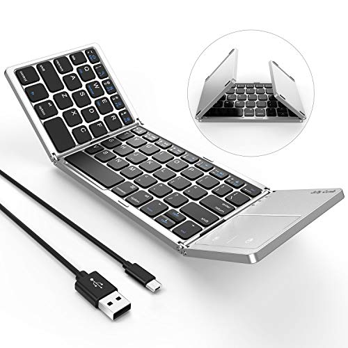 Foldable Bluetooth Keyboard, Jelly Comb B003B Dual Mode USB Wired & Bluetooth Keyboard with Touchpad Rechargeable for Windows Android Tablet Smartphone Surface and More-Updated (Black and Silver) (Best Bluetooth Keyboard For Android Smartphone)
