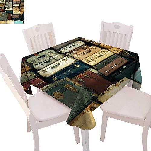 (cobeDecor Vintage Printed Tablecloth Colorful Vintage Suitcase Antique Leather Decorative Travel Gift Map Nostalgia Flannel Tablecloth 36