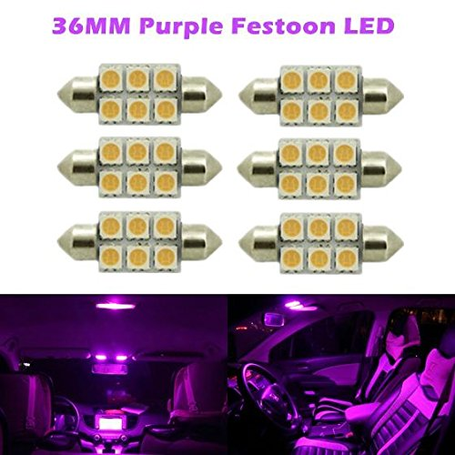 Partsam 6X Super Purple 36MM festoon Bulbs 5050 Dome Map Cargo Light For 2007-2010 Dodge Dakota Nitro