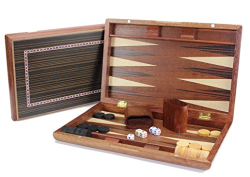 "13"" Classic Board Game Backgammon Set Brown Wooden Portable Travel Folding Case"