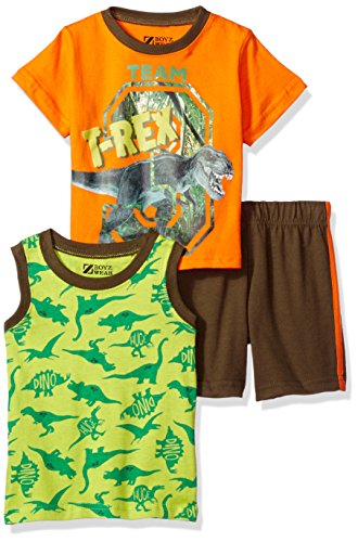 Nannette Baby Boys' 3 Piece Tank and Tee Short Set, T/Rex Orange, 12M (Three Piece Shorts Cotton)