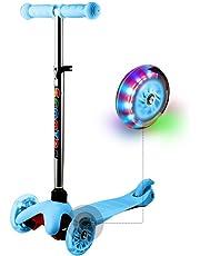WeSkate Kinder Kleinkinder Roller Scooter 3 Räder Verstellbare Mini Kinderscooter Kinderroller Dreiräder mit Blinkenden LED-rollen für Jüngere Mädchen