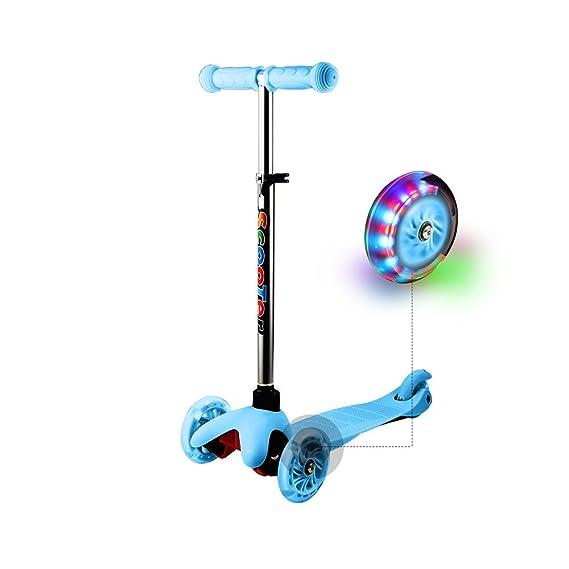 WeSkate Kinder Kleinkinder Roller Scooter 3 Räder Verstellbare Mini Kinderscooter Kinderroller Dreiräder mit Blinkenden LED-r