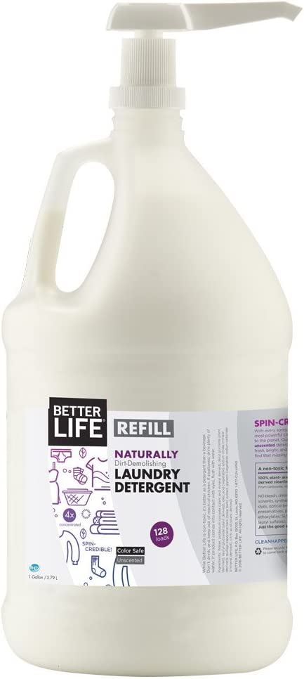 Laundry Unscented Better Life Natural Plant Based 4X Concentrated Laundry Detergent With Pump Unscented 128 Ounces Sulfate Free & Color Safe 2423B, 2423B