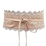Charming House Women's Vintage Obi Bowknot Leather Wide Waist Cinch Belt (Lace Pink)