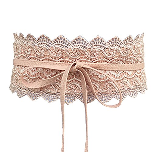 Charming House Women's Vintage Obi Bowknot Leather Wide Waist Cinch Belt (Lace Pink) (Belted Lace Belt)