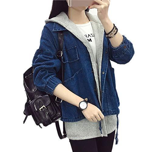 femmes femme automnale couture parka veste dessus Zlululu bonnet de manteaux vêtements jeans avec mince pour lavé vestes EaSxCq