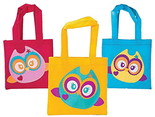 Owl Party Favor Tote Bags - 12 ct -