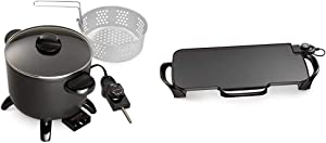 Presto 06006 Kitchen Kettle Multi-Cooker/Steamer & 07061 22-inch Electric Griddle With Removable Handles,Black