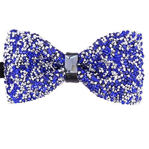 Men's Big Boy Sparkle Rhinestone Bow Tie Novelty Banquet Wedding Pre-Tied Bowtie (One Size, royal blue)