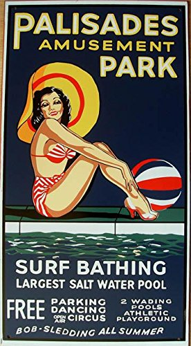American Collectibles Vintage Palisades Amusement Park Surf and Bathing, Largest Salt Water Pool, Enjoy All Summer Long Rustic Metal ()