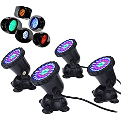 Mingdak® LED Underwater Submersible Spot Light Landscape Lamp for Aquarium Fish Tank Garden Fountain Pond Pool,36 Leds Lights,3 Colors Changing Lighting (Set of 4 Lights)