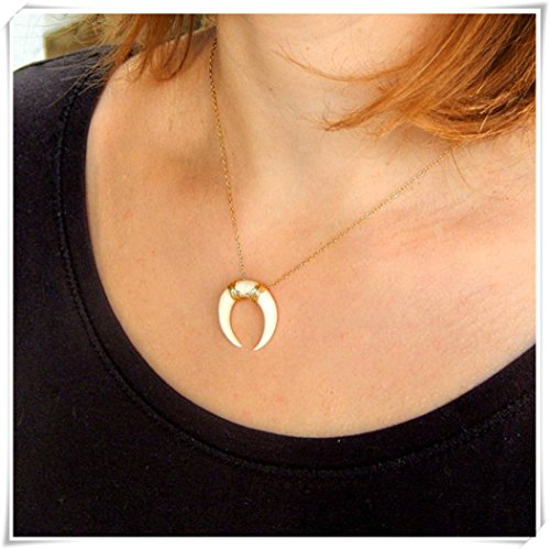 Tusk Double Horn Necklace, Moon Necklace, Crescent Necklace,White Horn Necklace