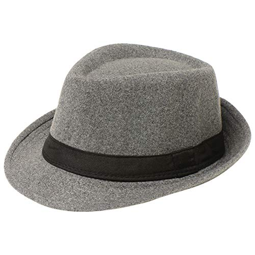 BABEYOND 1920s Panama Fedora Hat Cap for Men Gatsby Hat for Men 1920s Mens Gatsby Costume Accessories (Felt-Gray) ()