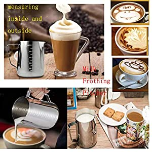 Boweiwj Stainless Steel Measuring Cup Frothing Cup 20 oz Milk Frothing Pitcher - Measurements on Both Sides Latte Art