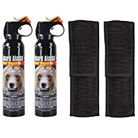 Guard Alaska (Pack of 2) 9 oz. Bear Spray Repellent Firemaster Canister & (Pack of 2) Pepper Enforcement Belt Clip Holsters 145 VALUE TWO-PACK - Includes TWO (2) Guard Alaska 9 oz. bear repellent spray canisters (4 year shelf life) & TWO (2) Pepper Enforcement metal belt clip holsters TESTED & PROVEN - Guard Alaska was intensively tested for six years in the Alaska wild, and it is the only bear repellent registered with the EPA as a repellent effective against ALL bears LONG SPRAY RANGE - Fogger delivery system sprays 15-20 feet quickly engulfing attacking bear for maximum effectiveness - Releases full 9 ounces of protection in 9 seconds, or may be fired in bursts