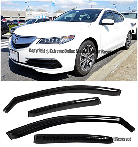 For 15-Up Acura TLX IN-CHANNEL Style Smoke Tinted JDM Side Window Visors Rain Guard Deflectors 2015 2016 2017 15 16 17 TL-X TL X ()
