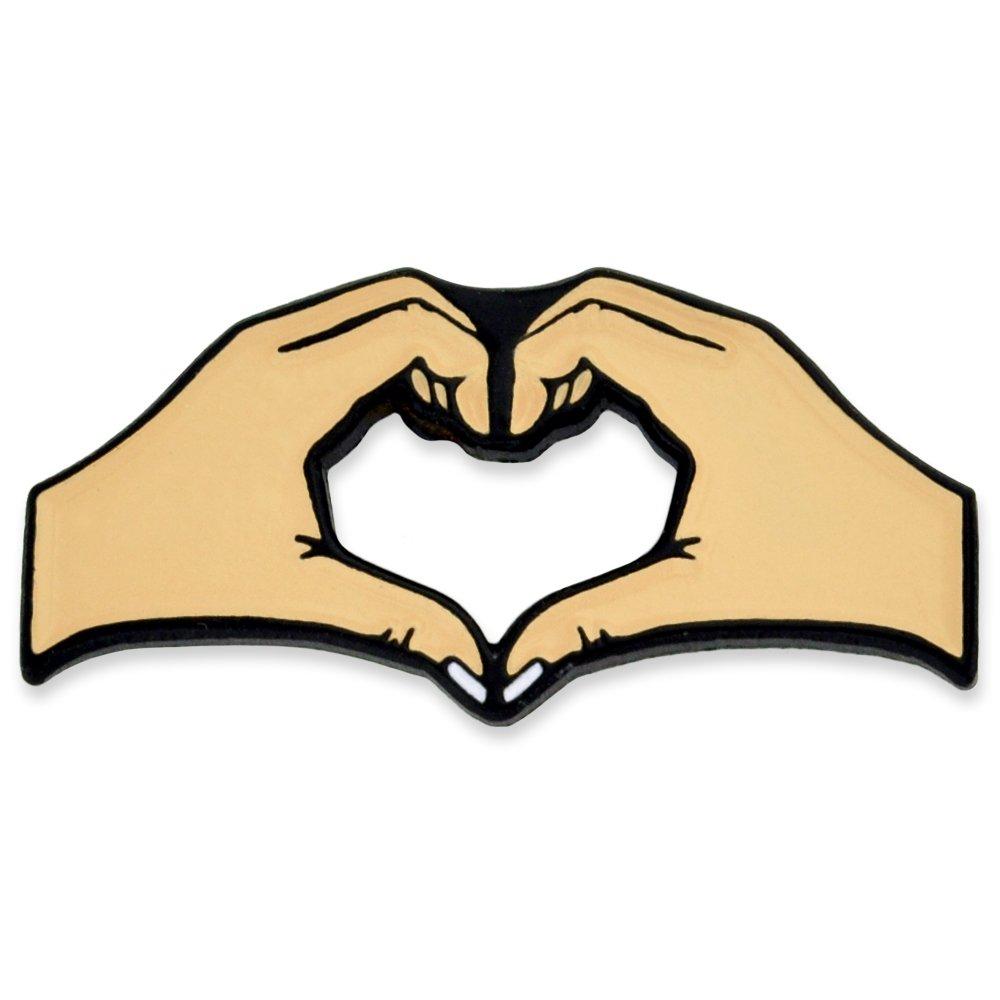 PinMart's Two Hands Heart Friendship Love Enamel Lapel Pin
