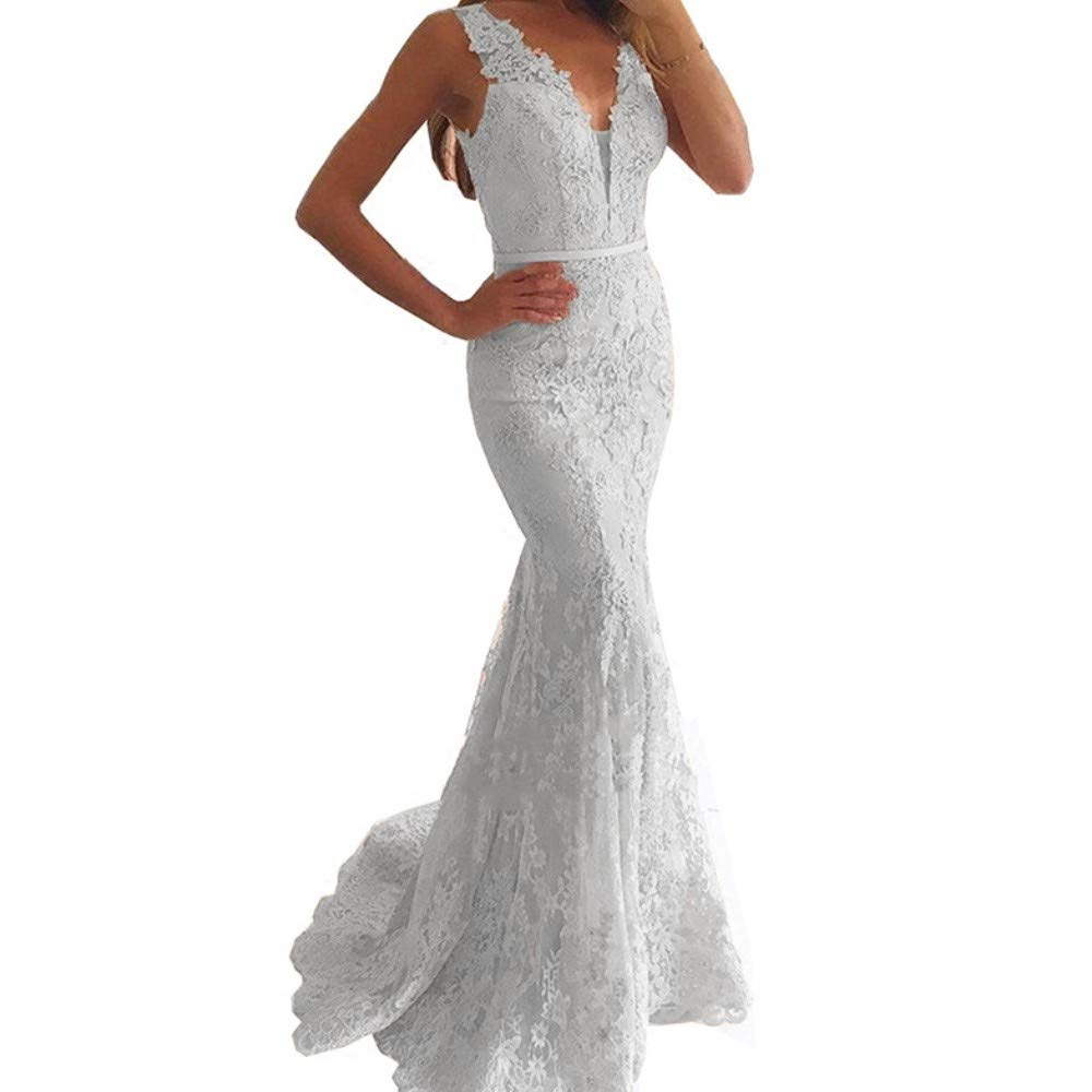 White Liaoye Long Sleeves Prom Dresses Lace Evening Ball Gown Aline Plus Size Wedding Dress