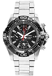 Seiko Men's SNAE25 Diver's Stainless Steel Black Chronograph Dial Watch