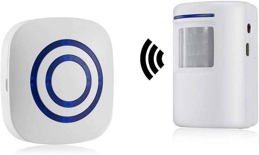 Alarma de seguridad, HausFine Inalámbrico Timbre de Alarma para la Puerta con Sensor de Movimiento PIR Infrarrojo Detector de Timbre del Sensor Ideal para Tiendas Mercados y Familias (1 + 1)