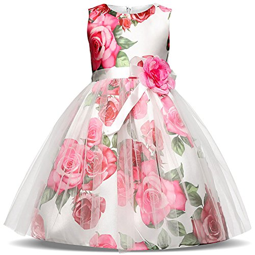 Cute Dress For Tweens (GESELLIE Girl Flowers Print Tulle Sleeveless Organza Pageant Princess Dress With Bow Belt)