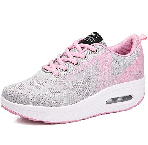 Dames Solshine Baskets Chics Plateau De Schnurer Chaussures Walkmaxx Forme-up Remise En Forme Gris Et Rose 2