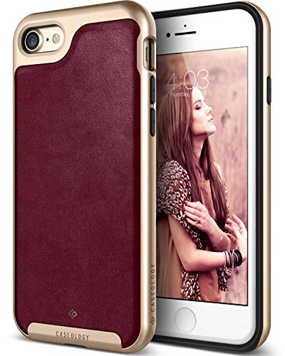 (Caseology Envoy for Apple iPhone 8 Case (2017) / for iPhone 7 Case (2016) - Premium Leather - Leather Cherry Oak)