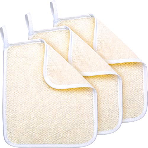 Exfoliating Face and Body Wash Cloths Towel Soft Weave Bath Cloth Exfoliating Scrub Cloth Massage Bath Cloth for Women and Man (3 Pack Exfoliating Side and Soft Terry Side ()