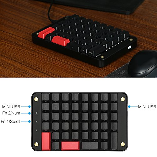 fd2503f50a1 Koolertron Single-Handed Programmable Mechanical Keyboard with Cherry MX  Red Switch,All 44 Programmable Keys Tools Keypad,8 Macro Keys,PBT Keycaps.