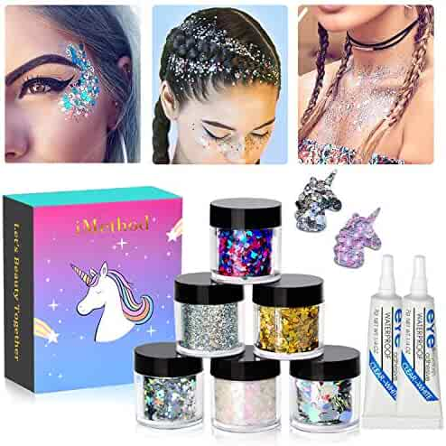 Holographic Chunky Body Glitters Set - 6 Jars iMethod Cosmetic Glitters Flakes, for Festival Face Makeup, Body, Hair, Nail and other Occasions