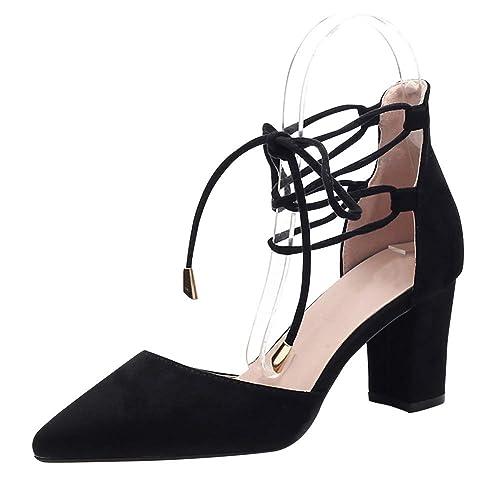2f625c4b uirend Mujer Zapatos de tacón - Tacón Ancho Punta Cerrada Correa de Tobillo  Sandalias Tacones Altos Encantos De Noche Zapatos de Vestir de Novia:  Amazon.es: ...