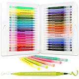Dual Brush Pen Art Markers,36 Vibrant Colors Drawing Pen Coloring Markers Color Pen for Painting Drawing Coloring Calligraphy Lettering,with Flexible Brush&Fine Tip,Great for Adults Kids and Beginner