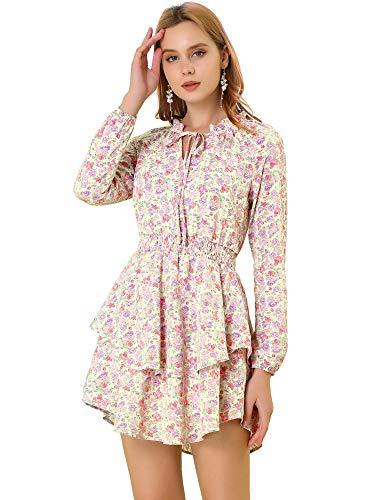 Allegra K Women's Floral Smocked Waist Tie Neck Layered Chiffon Mini Dress Medium Purple