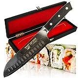 Tatara Santoku Knife Japanese Sushi Knife for Chefs 7 inch - VG10 Damascus with Case