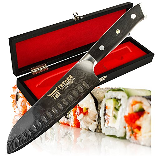 (TATARA | Santoku Knife - 7 inch Japanese Sushi Knife for Chefs | VG10 Damascus | Perfect For Sushi, Vegetable, Meat Cutting | Comes With Wooden Case)