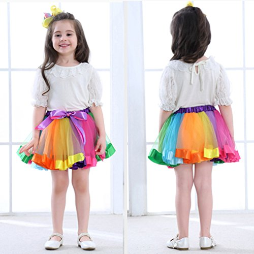 LYLKD Little Girls Layered Rainbow Tutu Skirts with Unicorn Horn Headband (Rainbow, L,4-8 Years)