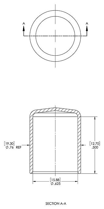 Cap ID 1.000 Length 0.500 Caplugs Inc. Black Caplugs 99190208 Plastic Round Cap VC-1000-8 Pack of 200 Vinyl Cap ID 1.000 Length 0.500