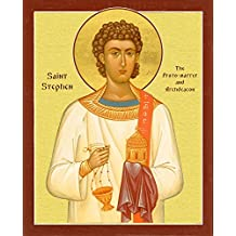 St. Stephen the Protomartyr and Archdeacon in English. Bright Gold Color. Canvas Icon Print